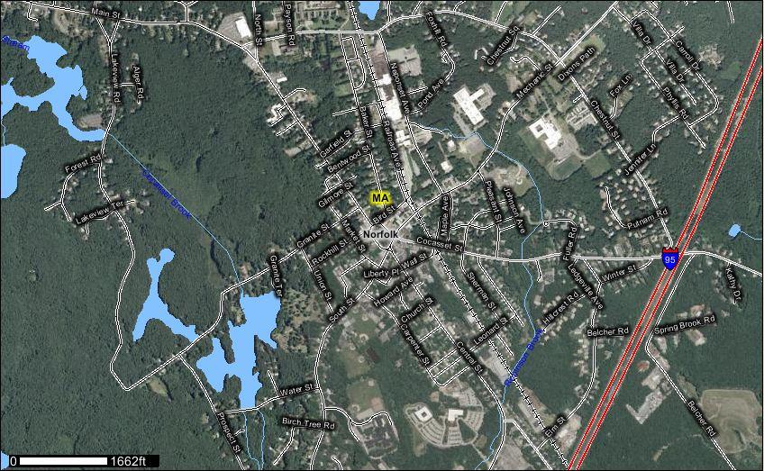 Downtown and Foxborough Common area, Foxborough, Massachusetts, USA