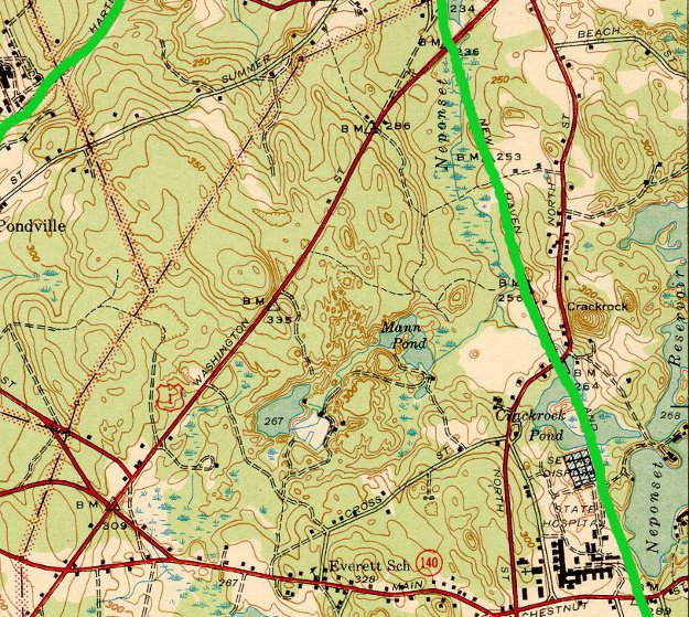 rail lines in Foxborough highlighted in lime green